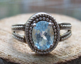 Vintage Sterling Silver Women's Ring with Lab Created Aquamarine Size 8 Ladies Ring