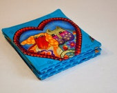 Fabric Coasters  Laurel Burch Valentine Cat and Dog  with hearts theme Set of 6  Reversible