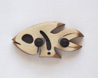 Ghost fish, hand carved ukulele wall mount hanger, dark brown