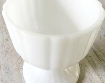 Milk Glass Vintage Bowl Vase Candy Dish