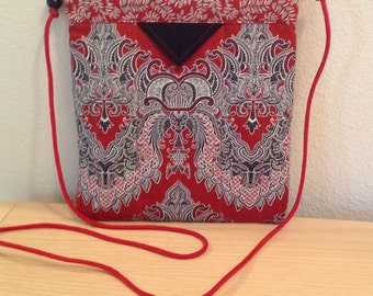 Red Black and White  Print Quilted Fabric Snap Bag Purse Handbag Handmade