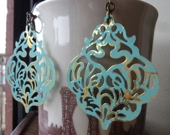 Large Damask Filigree Verdigris Patina Earrings, Bold, Statement Earrings