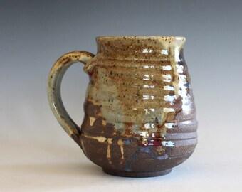 Coffee Mug Pottery, 16 oz, unique coffee mug, handmade cup, handthrown mug, stoneware mug, wheel thrown pottery mug, ceramics and pottery