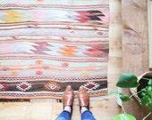 vintage rustic wool kilim rug