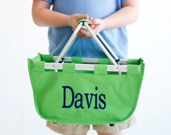 SHIPS NEXT DAY--- Monogrammed Reusable Mini Market Tote Basket Kelly Green --The Perfect Easter Basket--Free Monogramming--