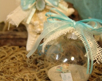 Coastal Ornaments Rustic Clear Glass Ball Ornaments with Sand, Shells, Sea Glass, Starfish Great for Christmas, Beach Weddings, Decorating