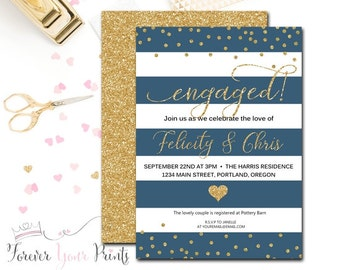 Engagement Party Invitation - Engagement Invitation - Bridal Shower Invitation - Wedding Shower Invitation - Blue & Gold Bridal Shower