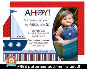 Nautical Sailboat Birthday Invitation - Nautical Invitation - Sailboat Invitation - Nautical Invite - Sailboat Birthday - Boys Invitation