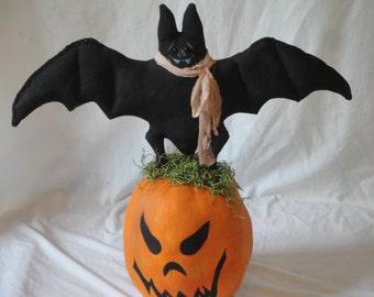 Halloween Primitive Bat on a Pumpkin, Hand made Halloween decoration, Halloween bat cloth art doll, fabric pumpkin