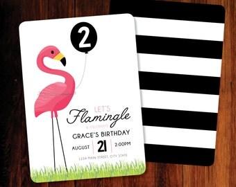 Flamingo invitation, digital file