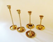 Brass Candleholder Set, Set of Five, Decorative Square Base, Graduated Candleholders, Wedding Brass Candlesticks