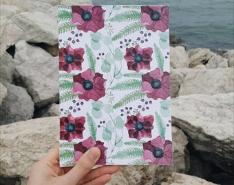 Red Anemones Floral Pattern Notepad with blank pages