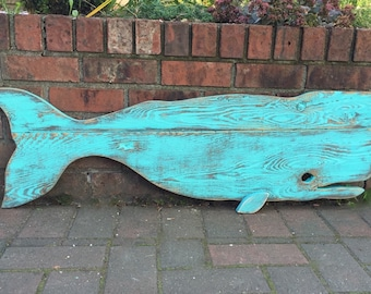 Whale Sign Beach House Decor Turquoise Green One of a Kind Weathered Wood Whale by CastawaysHall