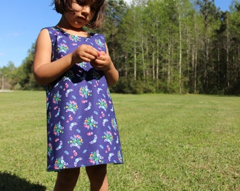 Summer Toddler Dress - Blue - Toddler Dress - Reversible Cotton