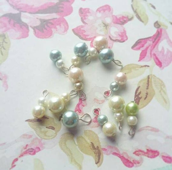 MYSTERY Sale... 10 Pearls, Variety of beaded charms, Scrapbooking, Cardmaking, Pocketletters, Jewelry, DIY, Supplies, Destash, Cream, Blue
