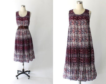 Vintage Indian Cotton Floral Dress // Sleeveless Knee Length Sun Dress // Large - XL