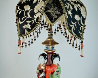 Vintage Chinoiserie - Japanese Victorian Lampshade Lamp and Shade with Antique Chinese Embroidery