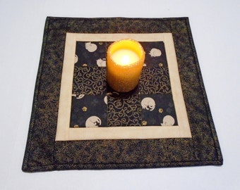 Kitty Quilted Table Topper, Quilted Table Runner in Black and Gold, Quilted Candle Mat, Gold Metallic and Black, Table Centerpiece