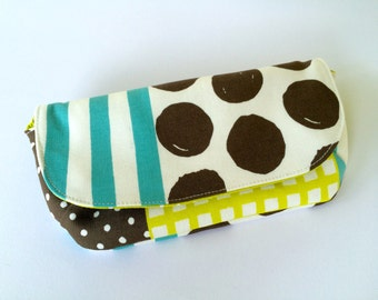 Sunglasses case. Spectacles case, Sunnies pouch. Handmade. Japanese Kokka Fabric. Stripes + Dots. Polka + Stripes.