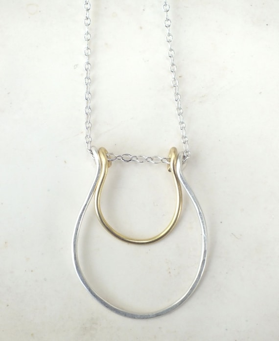 Lucky Necklace---Sterling Silver and Brass Wire Wrapped Bib Necklace