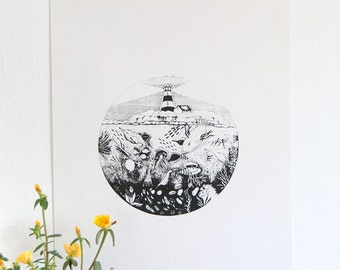 original screen print poster of black and white illustration- A3