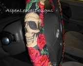Skulls and Roses. Steering Wheel Cover. Floral, Red, Black and White