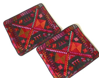 Pair Hand Embroidered Pillow Covers / Cushion Covers ... Handmade Geometric Red and Orange on Black Lebanese Square Ethnic Mod Boho Textile