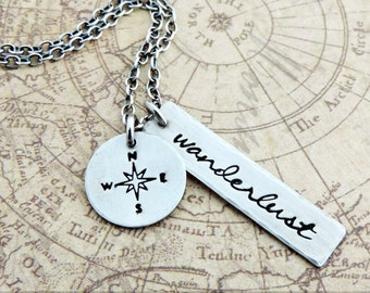 Silver Wanderlust Necklace - Travel Charm Necklace - Stamped Compass - Gift for Travelers - Adventure Jewelry