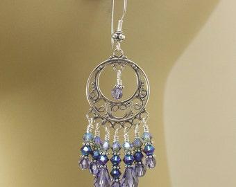 Turquoise Lavender Purple Chandelier Earrings Ombre Gypsy Earrings Hippie  Jewelry Bohemian Crystal and Sterling Silver Chandelier Earrings