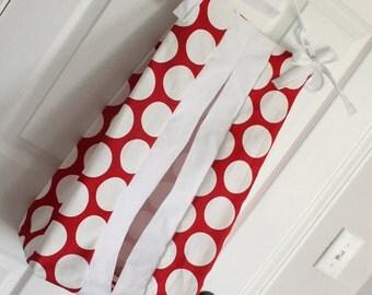 Red and white polka dot Diaper Stacker holder