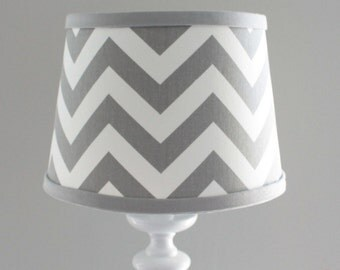 Small Gray White Chevron lamp shade with accent gray