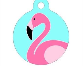 Pet ID Tag - Flamingo Pet Tag, Dog Tag, Cat Tag, Luggage Tag, Child ID Tag
