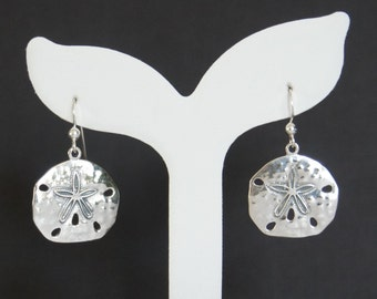Sterling Silver Sand Dollar Earring, Nautical Jewelry, Beach Jewelry, Birthday Gift, Mother's Gift