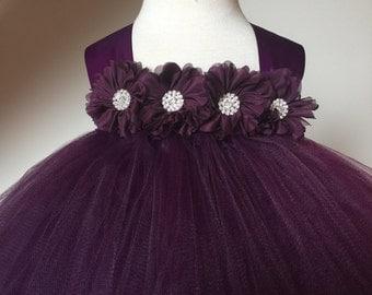 Plum Eggplant Flower Girl Satin Lace Tutu Dress, Wedding Dress, Baby Girl, Toddler, Girls
