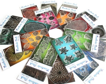 MANDARIN DUCK Texture Stamps - 21 style. Polymer clay, ink, metal clay, porcelain, papercrafts
