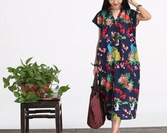 Casual Loose Fitting linen Cotton Long Dress Blouse- Women Maxi dress For Plus Size(M - 3XL)