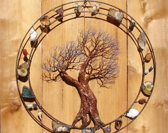 """Metal Tree wall art, wire Tree Of Life Sculpture, Circle of Life Passage, gemstone tree wall decor, copper wire wall art, crowsfeathers, 19"""""""