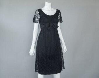 1960s Lace Dress - 60s Vintage Little Black Dress - Ma Mere M