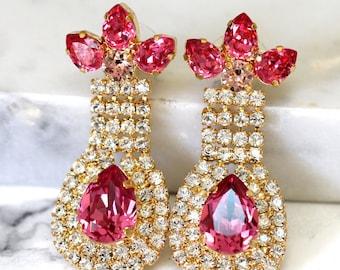Pink Chandelier Earrings, Bridal Pink Earrings, Swarovski Crystal Pink Earrings, Pink Earrings,Statement Earrings, Crystal Rose Earrings
