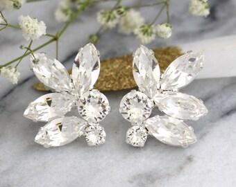 Silver Earrings, Silver Bridal Earrings, Silver White Crystal Cluster Earrings, Bridesmaids Earrings, Gift For Her, Bridal Crystal Earrings