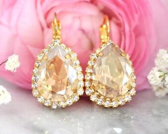 Champagne Earrings, Bridal Drop Earrings, Bridal Earrings, Swarovski Beige Earrings, Bridesmaids Earrings, Crystal Earrings ,Drop Earrings