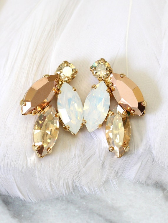 rose gold cluster earrings