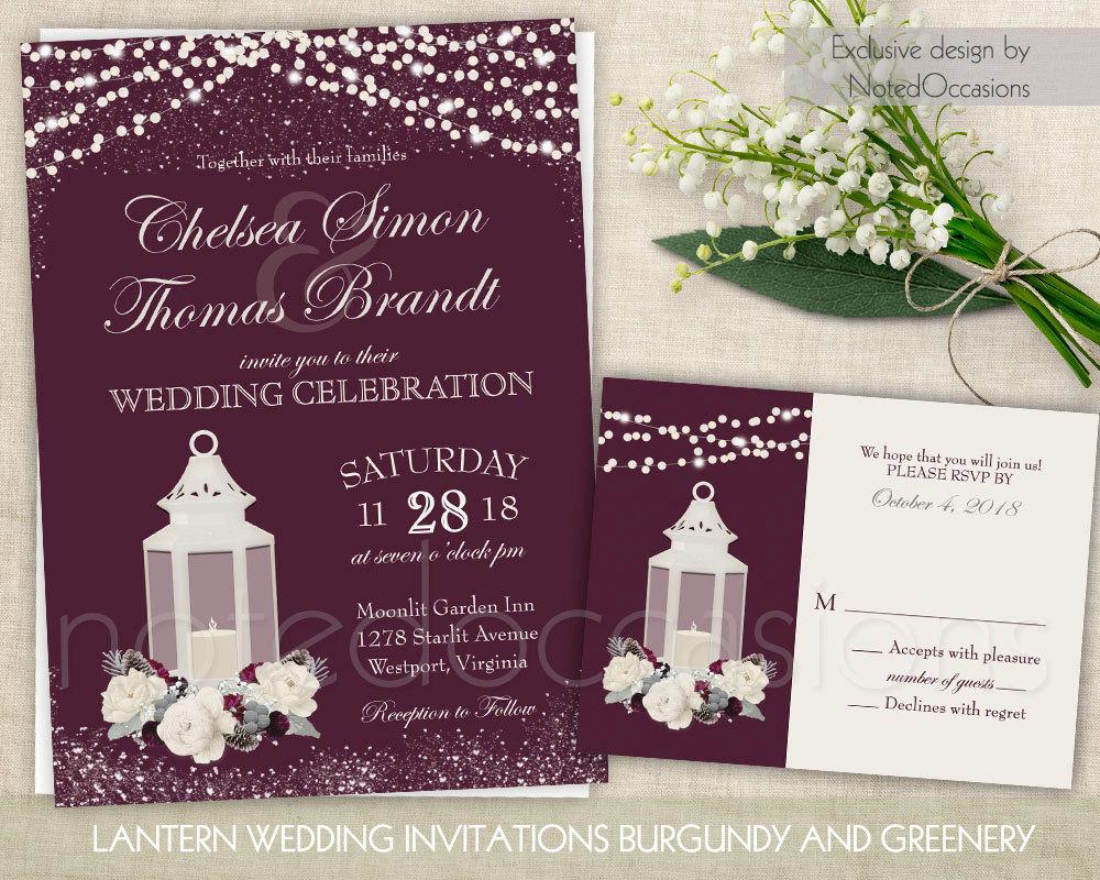 lantern wedding invitation winter wedding invite rsvp suite