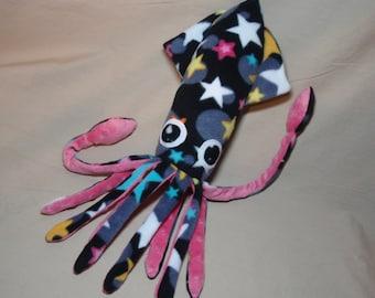 Jazzy the Star Spangled Black Fleece Squid Plush Stuffed Ocean Marine Animal