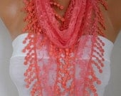 Coral Lace Scarf Christmas Gift Shawl  Cowl Scarf Necklace Bridesmaid Gift Gift Ideas For Her Women Accessories Mother's Day Gift
