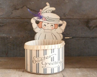 Vintage Easter Greeting Candy Cup 1920s 1930s Paper Ephemera Girl with Hat in Box with Original Inscription Holiday Home Decor