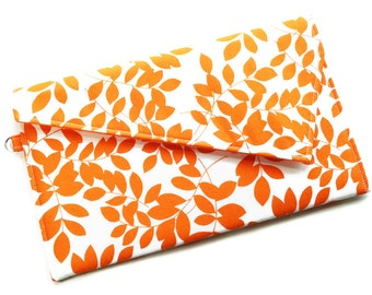 Envelope Clutch Purse Fold Over Clutch Bridesmaid Gift Wedding Clutch Orange and White Leaves