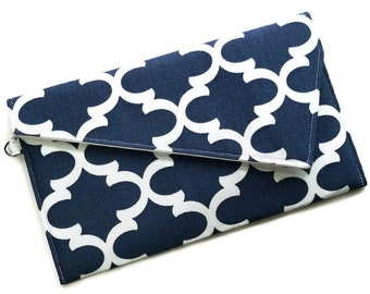 Envelope Fold Over Clutch Purse Wedding Clutch Bridesmaid Gift Navy and White Geometric Lattice