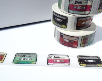 Cassette Tape Washi Tape - Paper Tape Great for Scrapbooking Paper Crafts and Decorations - Mix Tape 80s Retro Vintage Design15mm x 10m