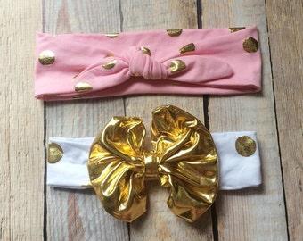 Gold polka dot headbands-you choose